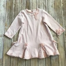 Girl's Baby Biscotti Pink Velvet Dress with Ribbons and Lace Size 4T Flower