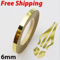 Chrome Gold Self Adhesive Car Pin Stripe Coach Tape Styling Stripe 6mm x 10meter