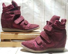 "Xhilaration High Top Hidden 3"" Wedge Sneaker Red Wine Women Size 10 M"