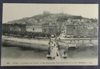 France Lyon Pont de la Feuillee Rue Octavio-May Gare Saint-Paul Postcard (f411)