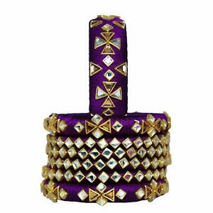 Dark Purple With Kundan Work Silk Thread Bangles For Girls Handmade Low Price