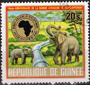 Guinea African Fauna Elephants and oil pipeline stamp 1984 A-24
