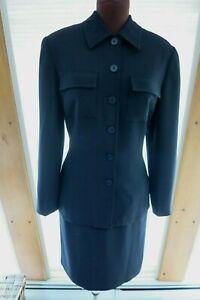 Ann Taylor LOFT SIZE 10 2 Piece Womens Suit Jacket Skirt Black Crepe Polyester
