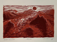 Lake Sunrise Original Color Woodcut Print Red Landscape Children Art