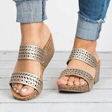 Ladies Women Slippers Platform Shoes Outdoor 3 Colors Open Straps Flip Flop YW