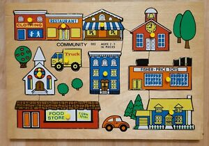 Vintage Holland 1971 Fisher Price Peek And Play WOODEN PUZZLE #502 COMMUNITY