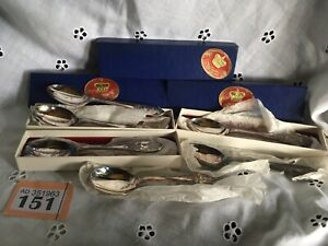 3 Pairs Of Silver Plated 1953 British Royal Coronation Spoons -In Original Boxes