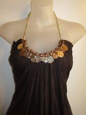 Sky Clothing Brand XS Halter Top Brown Gold Coin Dangle Wood Beaded Gypsy Party