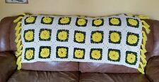Vintage Crochet Afghan Throw Blanket 3D Rose Granny Squares Handmade Yellow EUC