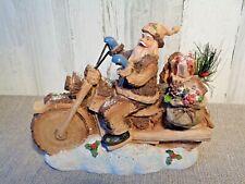 Santa on Wood Motorcycle Lights Up Holiday Tabletop Figurine Christmas Decor