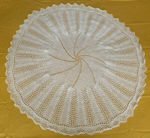 HAND KNITTED  WHITE BABY SHAWL BLANKET BRAND NEW 42 INCH CIRCULAR 3 PLY