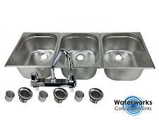 Large 3 Compartment Sink set For Portable Concession Sinks w/Faucet