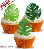 PRE-CUT MONSTERA LEAVES EDIBLE WAFER PAPER CUP CAKE TOPPERS PARTY DECORATION