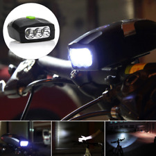 Mountain Bike Bicycle LED White Head Front Light With Electronic Bell Horn 4Mode