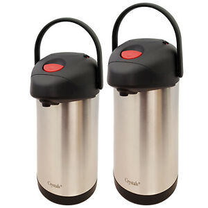 Tea Coffee Pot Vacuum Insulated Pump Action Travel Flask With Carry Handle(3/5L)