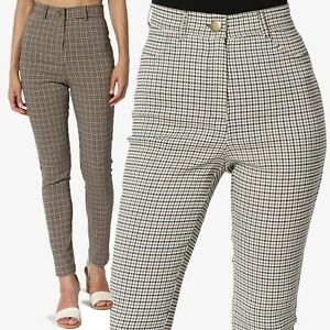 TheMogan Super High Waisted Checked Stretch Woven Ankle Skinny Leg Trouser Pants