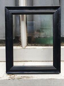 """ANTIQUE BLACK ENAMEL WOOD WOODEN PHOTO PICTURE FRAME 7 3/4""""W X 9 1/4""""D"""