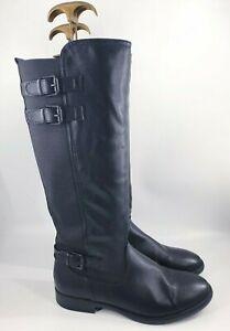 Graceland size 5 (38) black faux leather side zip block heel knee high boots