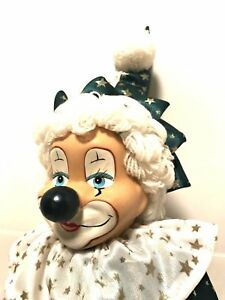 """Vintage Happy Clown Doll Bendable Arms Legs Stands Alone 18"""" Tall"""