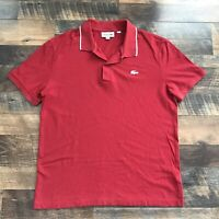 Lacoste Short Sleeve Polo Rugby Men's Size Large Shirt Solid Red With White Logo
