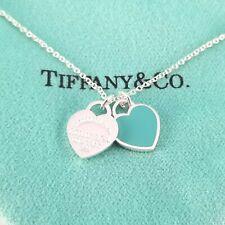 Return to Tiffany & Co. Mini Double Heart Tag Pendant Necklace Blue Enamel 18