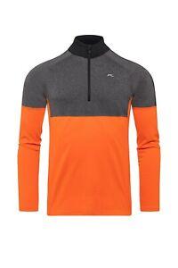 KJUS Men's Race half Zip Ski Sweater Jumper Midlayer Orange Grey New