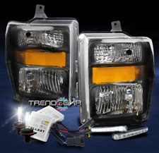 2008-2010 FORD F250 F350 SUPER DUTY HEADLIGHT LAMP BLACK W/DRL LED+6K XENON HID