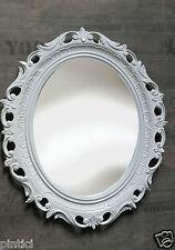 Espejo de Pared Blanco Ovalado baño Barroco Antiguo Marco Retro 58x68