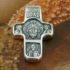 "RUSSIAN ORTHODOX CROSS ""ST. NIKOLA, MIRACLE MAKER"" SOLID.925 NEW JEWELRY"