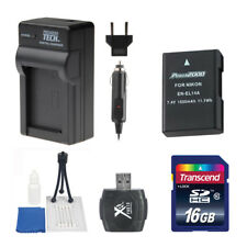 PT EN-EL14 Battery + Charger 16GB Value Kit for Nikon D3100 D3400 D5100 D5500