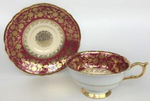 Vtg PARAGON Royal Warrant Red Floral Gilded Bone China Porcelain Tea Cup Saucer