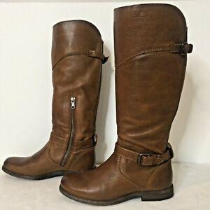 FRYE PHILLIP RIDING Womens 7.5 COGNAC Brown Leather Extended Calf ZIP TALL BOOTS