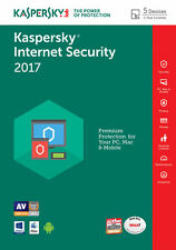 KASPERSKY Internet Security 2017 5 PC / utente / dispositivi / 1 ANNO / antivirus /