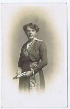 Edwardian Lady with Book Antique Photograph c1910 by Pannell of Hove