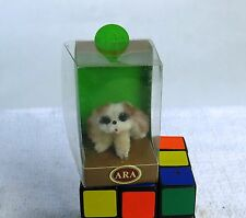 Cute Vintage ARA Austria Hand Made Wool Dog Red Collar Figurine Mint in Box