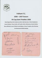 FULHAM 1936-37 SEASON RARE ORIG HAND SIGNED 2 X PAGES 16 X SIGS INCL HAYNES HILL