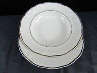 Wawel WAV23 Set of 2 Rim Soup Bowls Fine China Gold Trim White Floral Poland