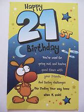 FANTASTIC 3 FOLD COLOURFUL FUNNY POEM HAPPY 21ST BIRTHDAY GREETING CARD