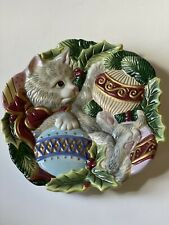 Fitz& Floyd Christmas Decorative Plate- Kitten With Ornament