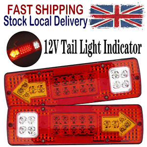 2x 19 LED RECOVERY TRAILER TRUCK VAN LORRY CAR STOP REAR LIGHTS INDICATOR 12V