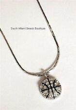 Silver Crystal Basketball Necklace Plated Sports Ball Mom 18 Inch USA Seller