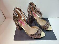 Betsey Johnson Glissten Rainbow Glitter Heels Shoes US 10 With Box