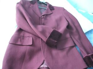 Vintage M&S AUBERGINE CREPE WOOL JACKET WITH VELVET COLLAR. as  NEW. uk size 12