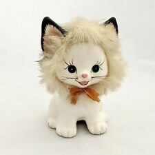 Vintage Ceramic Napco Japan Cat Coin Bank With Fur