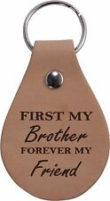 First My Brother Forever My Friend Leather Key Chain - Made in the USA
