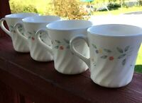 Corelle English Meadow Coffee Tea Mugs Cups. Corning, Set of Four (4)