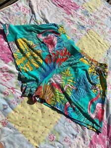 ASOS Shorts Tropical Flamingo Floaty Blue UK 18 Loose Stretch Waist RARE Party