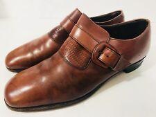 NETTLETON Mens Shoes Sz 10.5 Brown Leather Single Monk Strap Plain Toe VTG 70s