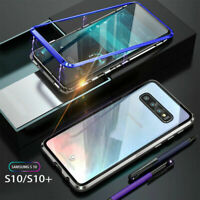 For Samsung Galaxy S10/S10+ Magnetic Adsorption Tempered Glass Back Case Cover