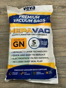 VEVA HepaVac Cloth Canister Vacuum Bags (Deigned For GN) 5 Bag Value Pack
